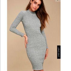 Lulus I Mist You Heather Grey Midi Sweater Dress